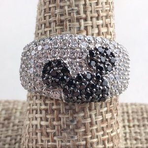 Disney Mickey Mouse Ears Silver CZ Band Ring 8 1/2